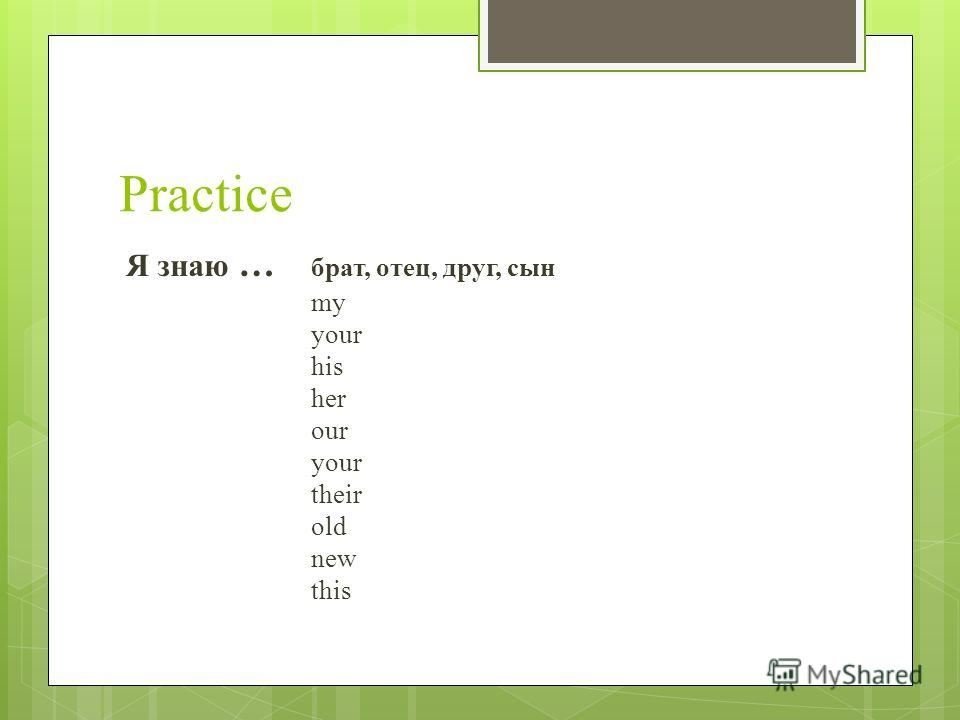 Practice Я знаю … брат, отец, друг, сын my your his her our your their old new this