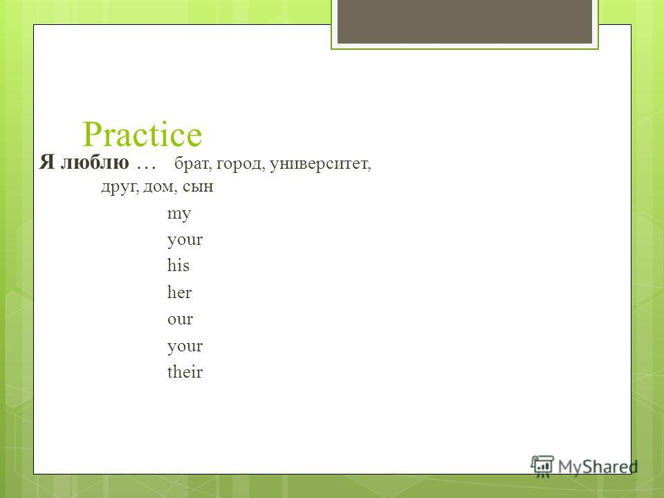 Practice Я люблю … брат, город, университет, друг, дом, сын my your his her our your their