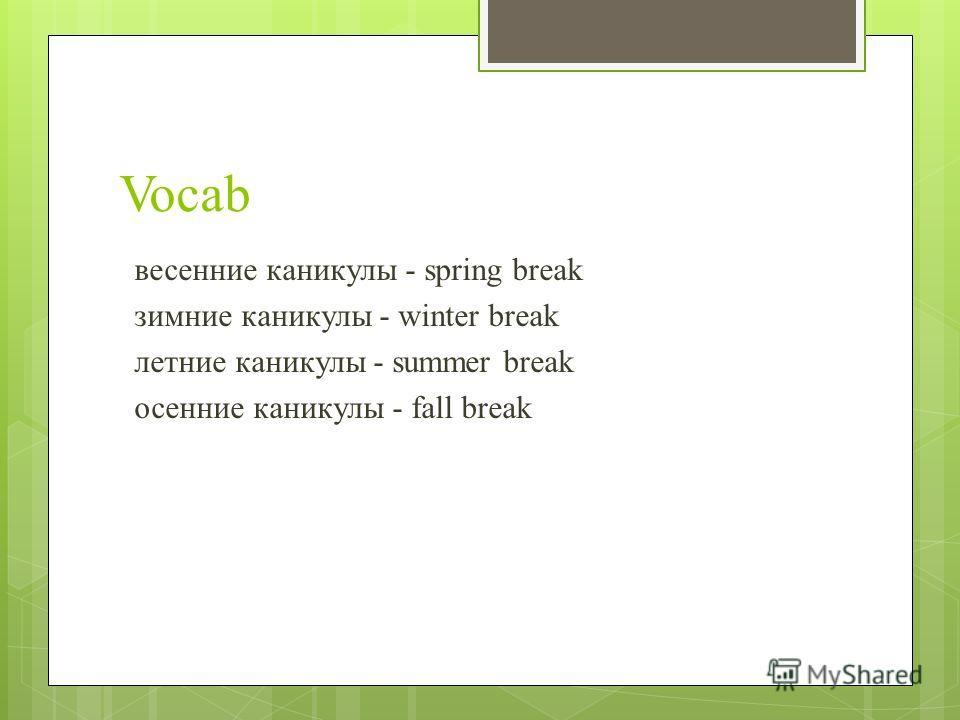 Vocab весенние каникулы - spring break зимние каникулы - winter break летние каникулы - summer break осенние каникулы - fall break