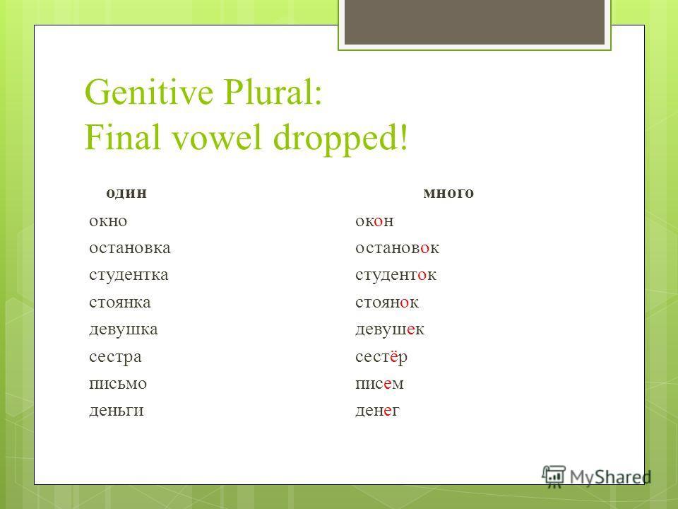 Genitive Plural: Final vowel dropped! одинмного окно окон oстановка остановок студенткастуденток стоянкастоянок девушкадевушек сестрасестёр письмописем деньгиденег