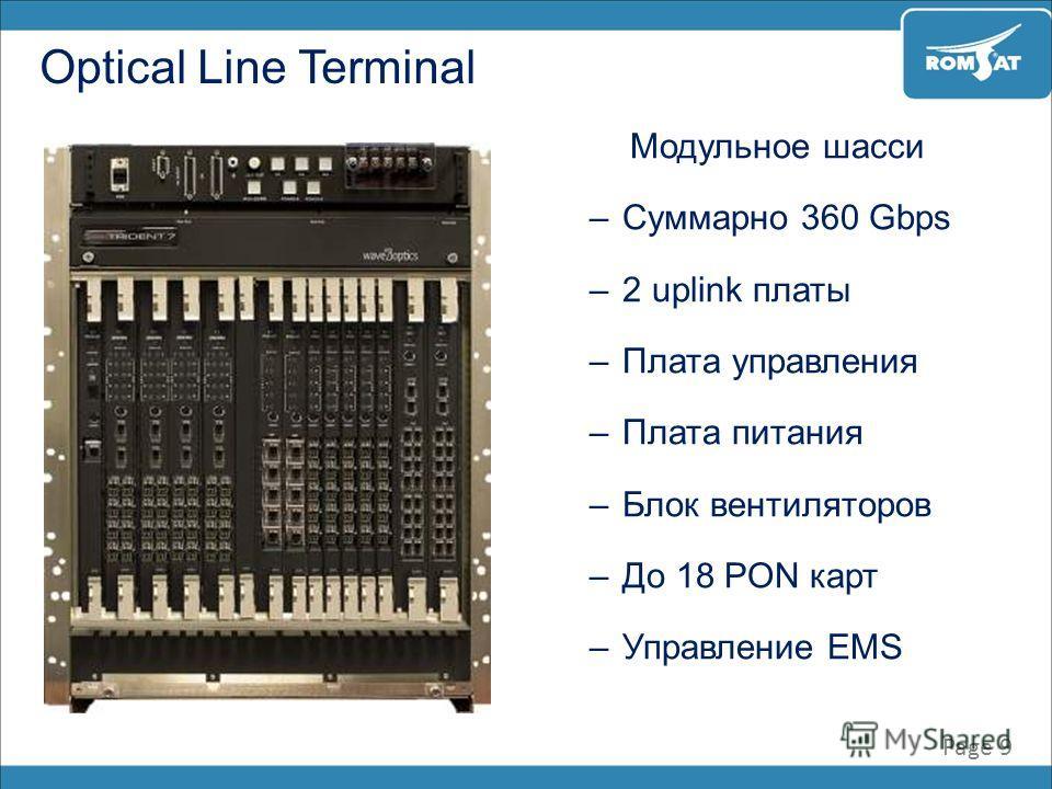 Page 9 Optical Line Terminal Модульное шасси –Суммарно 360 Gbps –2 uplink платы –Плата управления –Плата питания –Блок вентиляторов –До 18 PON карт –Управление EMS