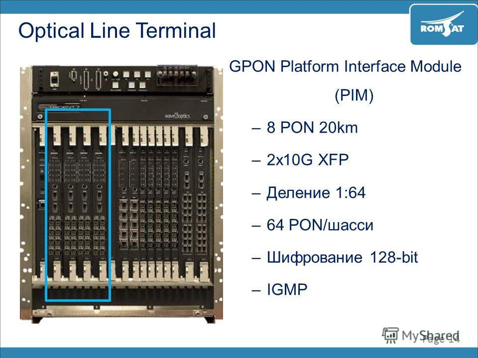 Page 14 Optical Line Terminal GPON Platform Interface Module (PIM) –8 PON 20km –2x10G XFP –Деление 1:64 –64 PON/шасси –Шифрование 128-bit –IGMP