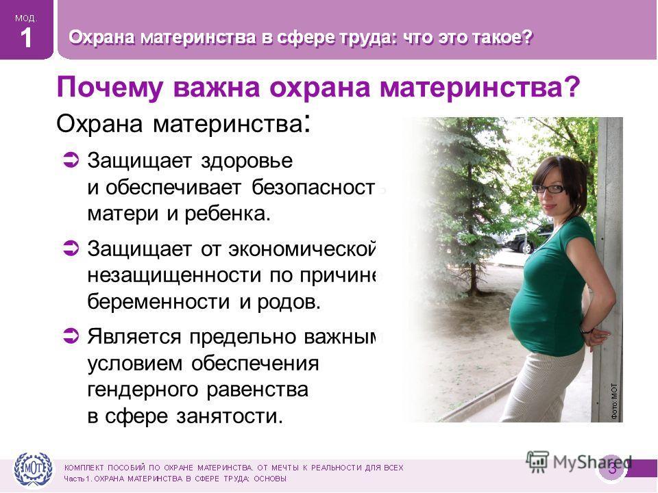 3 Охрана материнства : Защищает здоровье и обеспечивает безопасность матери и ребенка. Защищает от экономической незащищенности по причине беременности и родов. Является предельно важным условием обеспечения гендерного равенства в сфере занятости. По