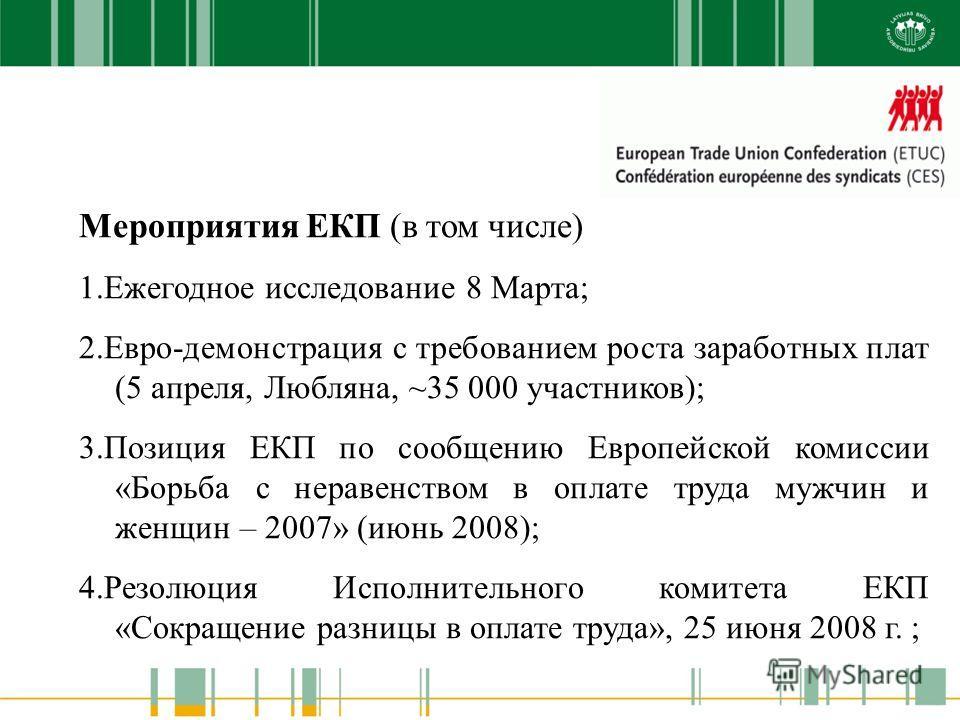 Мероприятия ЕКП (в том числе) 1.Ежегодное исследование 8 Марта; 2.Евро-демонстрация с требованием роста заработных плат (5 апреля, Любляна, ~35 000 участников); 3.Позиция ЕКП по сообщению Европейской комиссии «Борьба с неравенством в оплате труда муж