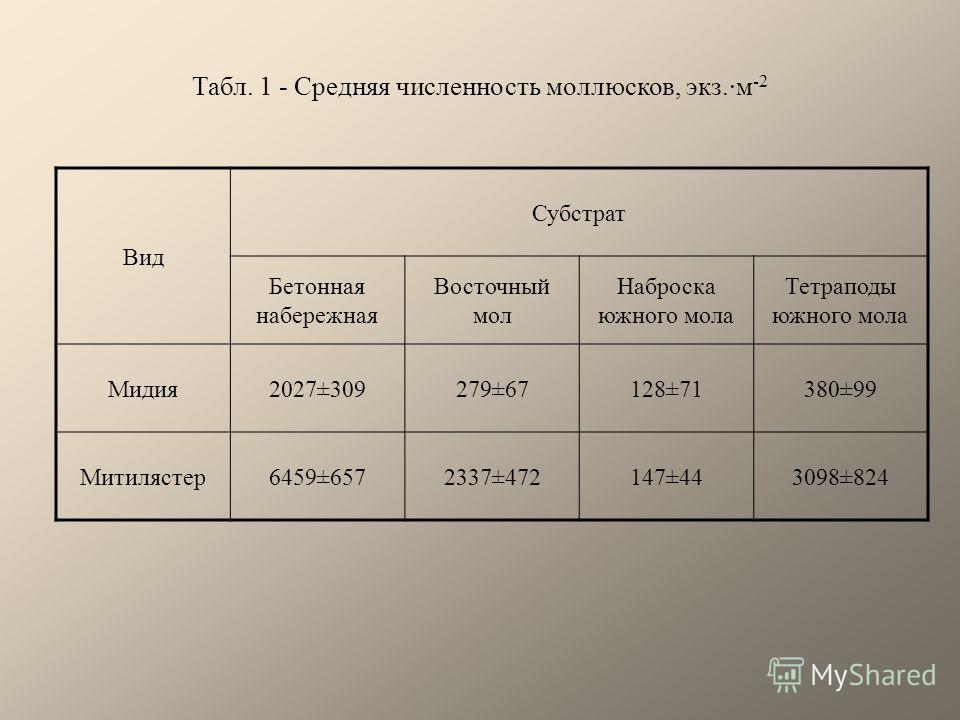 Табл. 1 - Средняя численность моллюсков, экз.·м -2 Вид Субстрат Бетонная набережная Восточный мол Наброска южного мола Тетраподы южного мола Мидия2027±309279±67128±71380±99 Митилястер6459±6572337±472147±443098±824