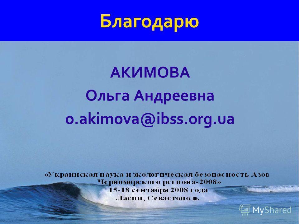 Благодарю АКИМОВА Ольга Андреевна o.akimova@ibss.org.ua