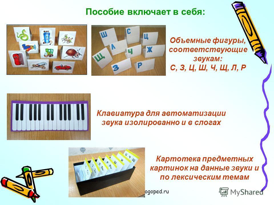 www.logoped.ru Пособие включает в себя: Объемные фигуры, соответствующие звукам: С, З, Ц, Ш, Ч, Щ, Л, Р Клавиатура для автоматизации звука изолированно и в слогах Картотека предметных картинок на данные звуки и по лексическим темам