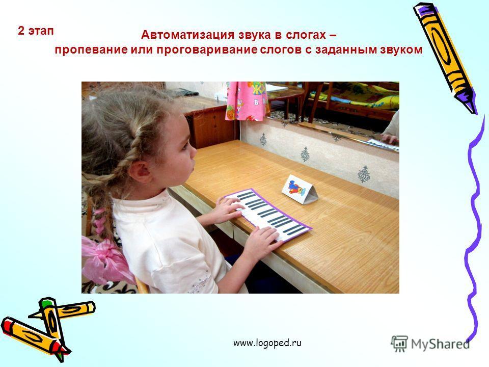 www.logoped.ru 2 этап Автоматизация звука в слогах – пропевание или проговаривание слогов с заданным звуком