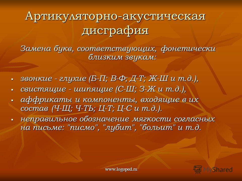 Замена букв, соответствующих, фонетически близким звукам: звонкие - глухие (Б-П; В-Ф; Д-Т; Ж-Ш и т.д.), звонкие - глухие (Б-П; В-Ф; Д-Т; Ж-Ш и т.д.), свистящие - шипящие (С-Ш; З-Ж и т.д.), свистящие - шипящие (С-Ш; З-Ж и т.д.), аффрикаты и компоненты