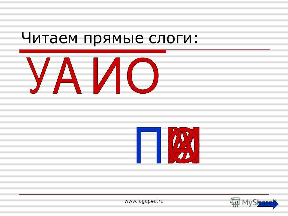 www.logoped.ru Читаем прямые слоги: