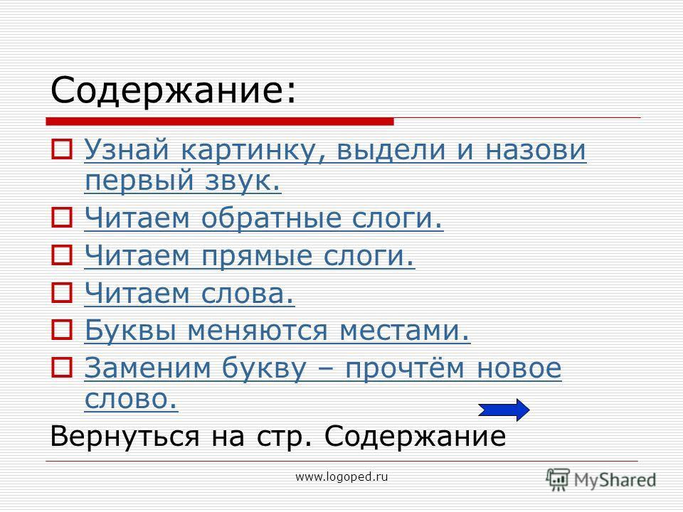 www.logoped.ru Содержание: Узнай картинку, выдели и назови первый звук. Узнай картинку, выдели и назови первый звук. Читаем обратные слоги. Читаем прямые слоги. Читаем слова. Буквы меняются местами. Заменим букву – прочтём новое слово. Заменим букву