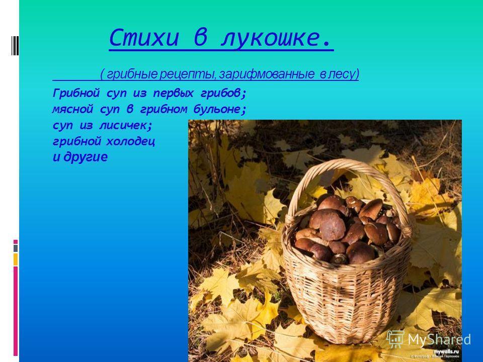 Стихи в лукошке. ( грибные рецепты, зарифмованные в лесу) Грибной суп из первых грибов; мясной суп в грибном бульоне; суп из лисичек; грибной холодец и другие