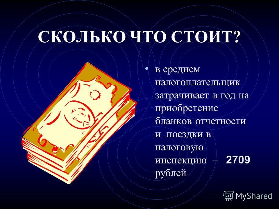 СКОЛЬКО ЧТО СТОИТ? в среднем налогоплательщик затрачивает в год на приобретение бланков отчетности и поездки в налоговую инспекцию – 2709 рублей