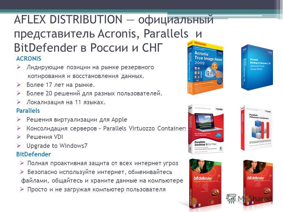 2 AFLEX DISTRIBUTION официальный представитель Acronis, Parallels и BitDefender в России и СНГ ACRONIS Лидирующие позиции на рынке резервного копирования и восстановления данных. Более 17 лет на рынке. Более 20 решений для разных пользователей. Локал