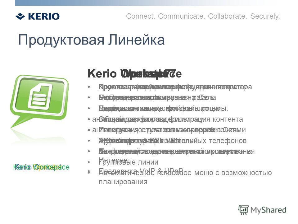 Connect. Communicate. Collaborate. Securely. Продуктовая Линейка Kerio Control Kerio Connect Kerio OperatorKerio Workspace Kerio Control 7 Доскональная проверка пакетов на шлюзе Распределение Нагрузки на Сеть Двойная антивирусная фильтрация Защита се