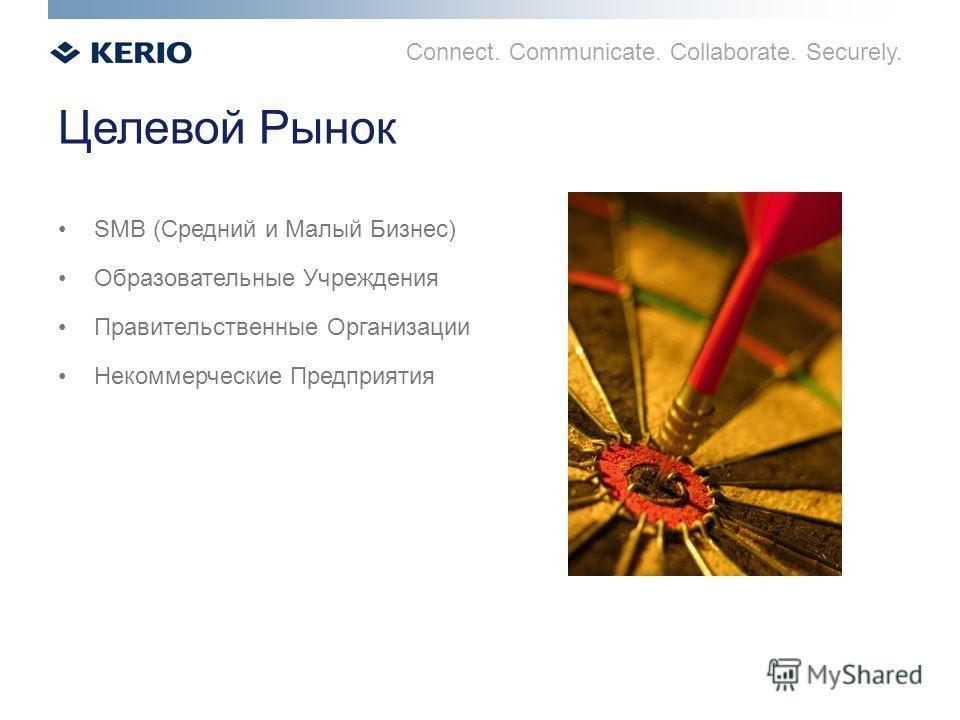Connect. Communicate. Collaborate. Securely. Целевой Рынок SMB (Средний и Малый Бизнес) Образовательные Учреждения Правительственные Организации Некоммерческие Предприятия