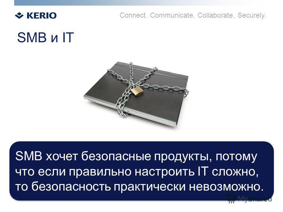 Connect. Communicate. Collaborate. Securely. SMB и IT SMB хочет безопасные продукты, потому что если правильно настроить IT сложно, то безопасность практически невозможно. SMB хочет безопасные продукты, потому что если правильно настроить IT сложно,