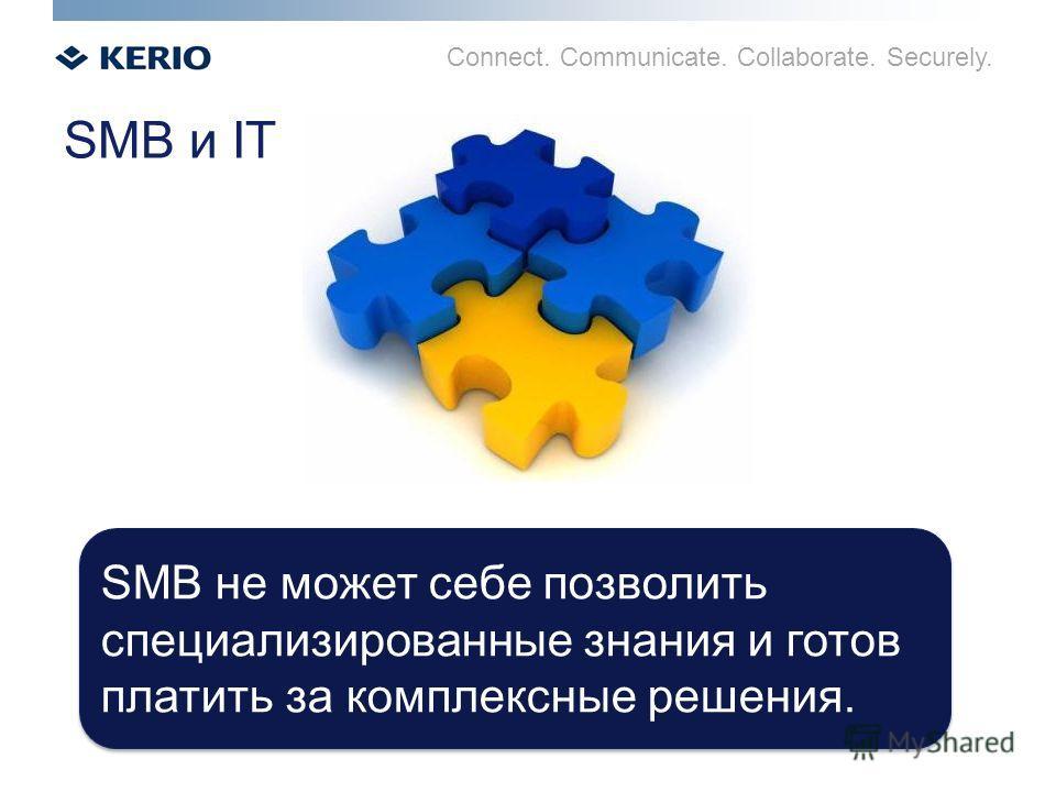 Connect. Communicate. Collaborate. Securely. SMB и IT SMB не может себе позволить специализированные знания и готов платить за комплексные решения.
