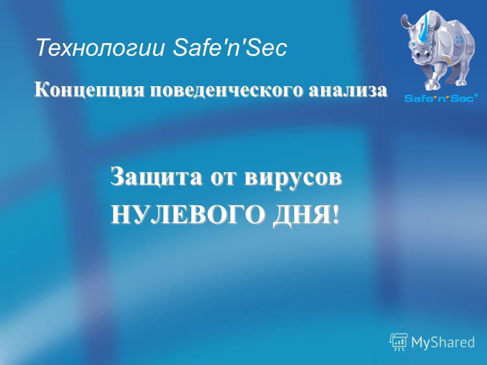 Концепция поведенческого анализа Защита от вирусов НУЛЕВОГО ДНЯ! НУЛЕВОГО ДНЯ! Технологии Safe'n'Sec