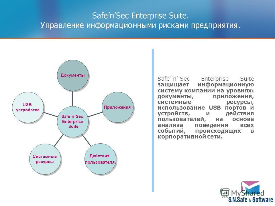 Safe`n`Sec Enterprise Suite защищает информационную систему компании на уровнях: документы, приложения, системные ресурсы, использование USB портов и устройств, и действия пользователей, на основе анализа поведения всех событий, происходящих в корпор