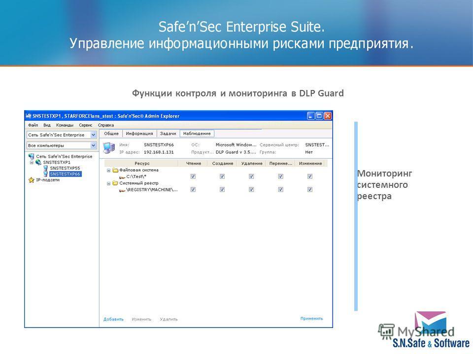 Мониторинг системного реестра Функции контроля и мониторинга в DLP Guard
