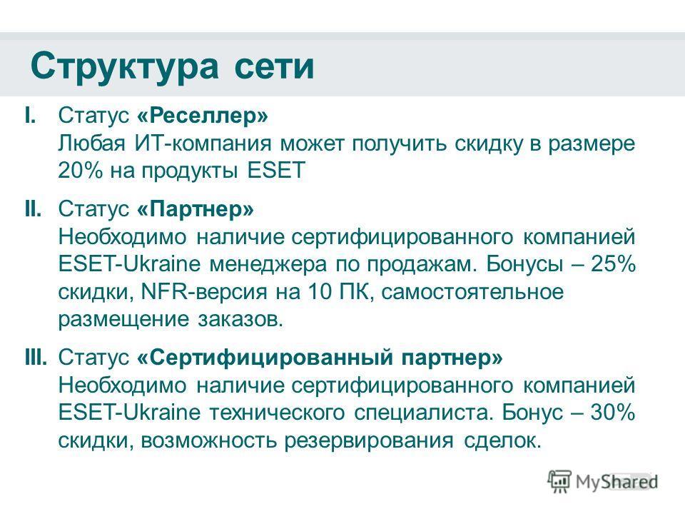 Структура сети I.Статус «Реселлер» Любая ИТ-компания может получить скидку в размере 20% на продукты ESET II.Статус «Партнер» Необходимо наличие сертифицированного компанией ESET-Ukraine менеджера по продажам. Бонусы – 25% скидки, NFR-версия на 10 ПК