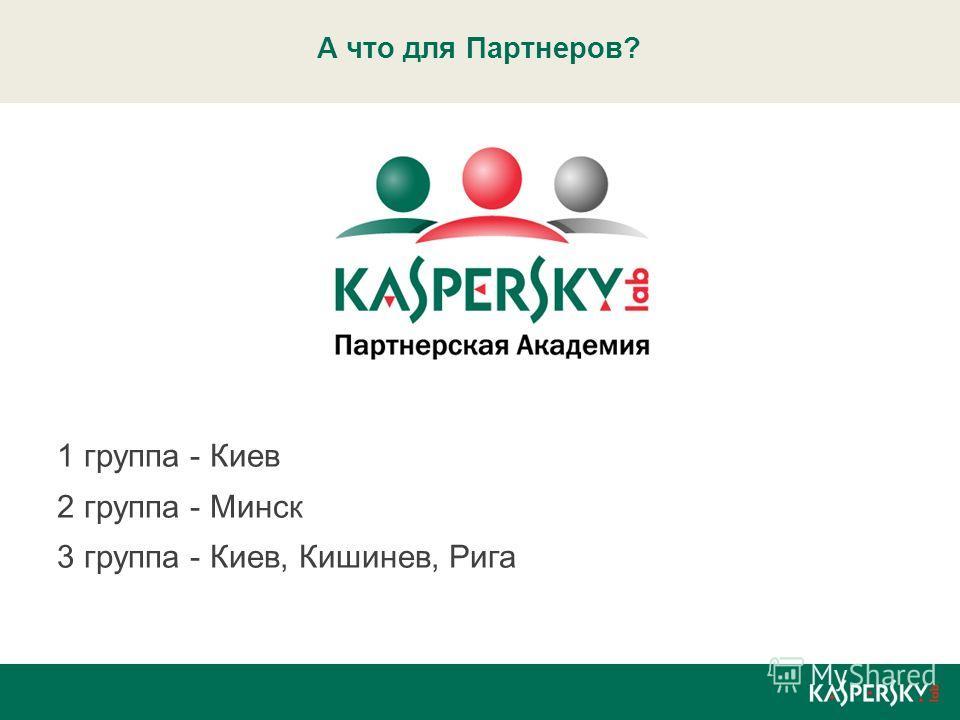 А что для Партнеров? 1 группа - Киев 2 группа - Минск 3 группа - Киев, Кишинев, Рига