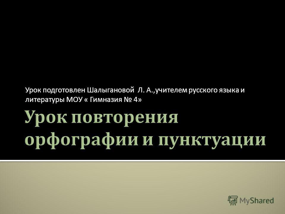 Урок подготовлен Шалыгановой Л. А., учителем русского языка и литературы МОУ « Гимназия 4»