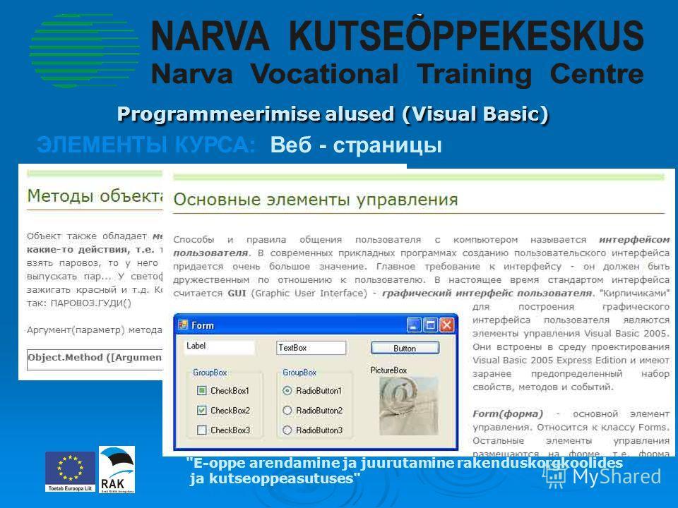 Programmeerimise alused (Visual Basic) Programmeerimise alused (Visual Basic) E-oppe arendamine ja juurutamine rakenduskorgkoolides ja kutseoppeasutuses ЭЛЕМЕНТЫ КУРСА: Веб - страницы