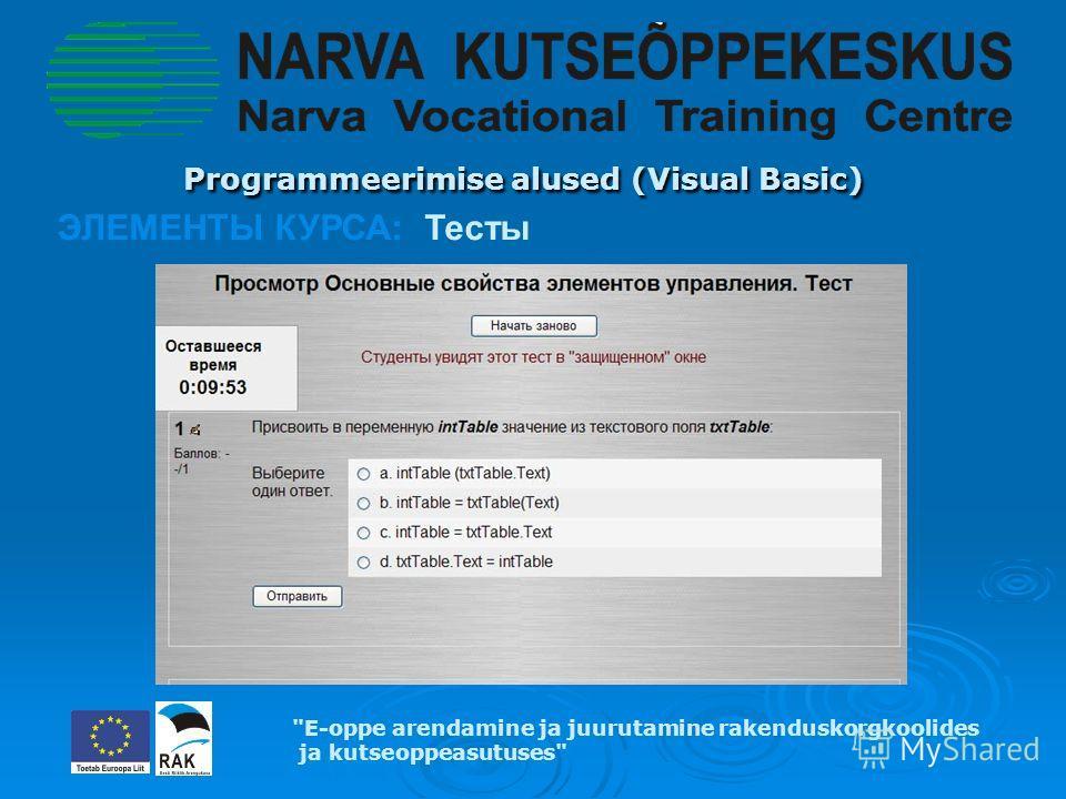 Programmeerimise alused (Visual Basic) Programmeerimise alused (Visual Basic) E-oppe arendamine ja juurutamine rakenduskorgkoolides ja kutseoppeasutuses ЭЛЕМЕНТЫ КУРСА: Тесты