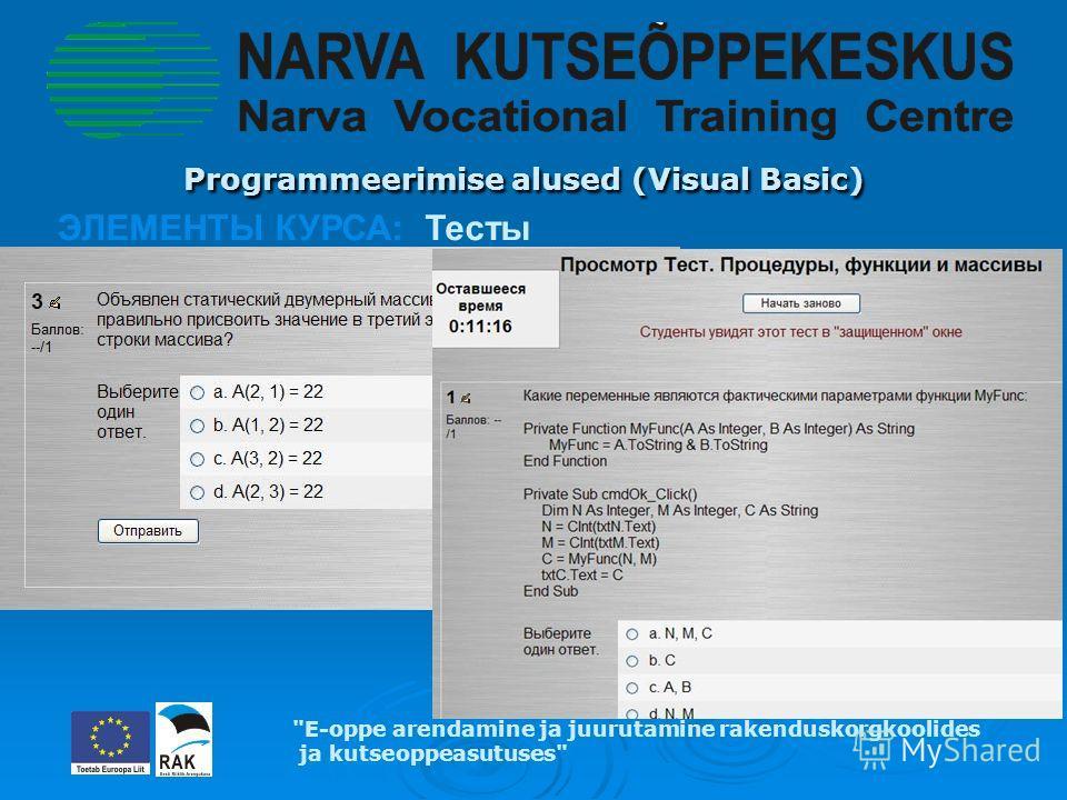 Programmeerimise alused (Visual Basic) Programmeerimise alused (Visual Basic) ЭЛЕМЕНТЫ КУРСА: Тесты E-oppe arendamine ja juurutamine rakenduskorgkoolides ja kutseoppeasutuses