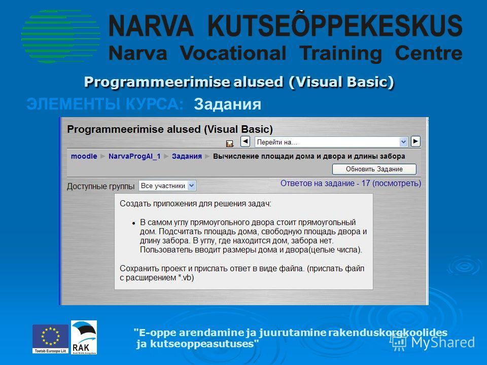 Programmeerimise alused (Visual Basic) Programmeerimise alused (Visual Basic) E-oppe arendamine ja juurutamine rakenduskorgkoolides ja kutseoppeasutuses ЭЛЕМЕНТЫ КУРСА: Задания