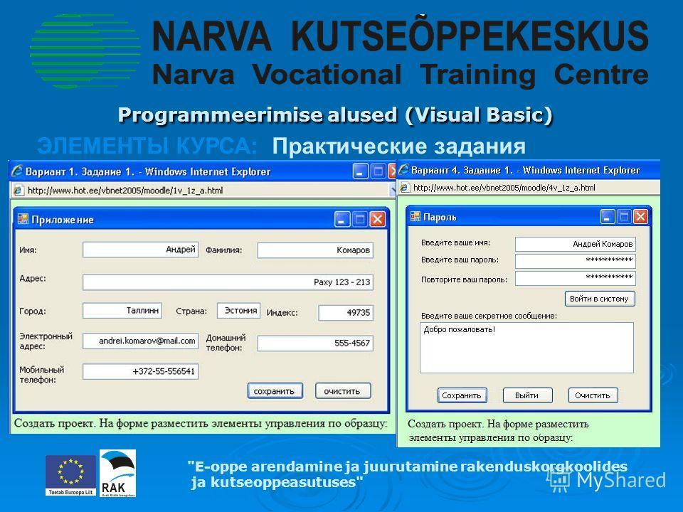 Programmeerimise alused (Visual Basic) Programmeerimise alused (Visual Basic) E-oppe arendamine ja juurutamine rakenduskorgkoolides ja kutseoppeasutuses ЭЛЕМЕНТЫ КУРСА: Практические задания