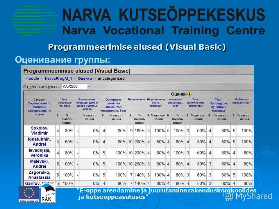 Programmeerimise alused (Visual Basic) Programmeerimise alused (Visual Basic) E-oppe arendamine ja juurutamine rakenduskorgkoolides ja kutseoppeasutuses Оценивание группы:
