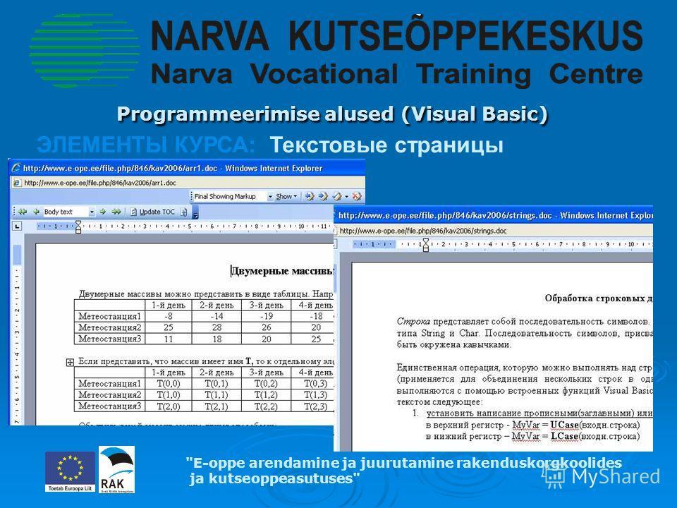 Programmeerimise alused (Visual Basic) Programmeerimise alused (Visual Basic) E-oppe arendamine ja juurutamine rakenduskorgkoolides ja kutseoppeasutuses ЭЛЕМЕНТЫ КУРСА: Текстовые страницы