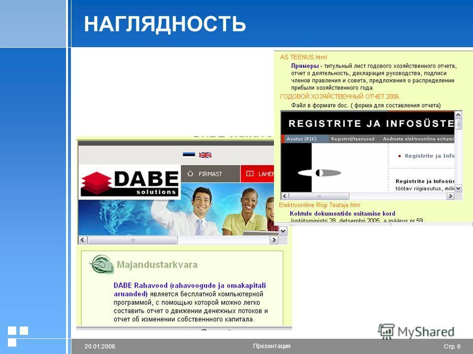 Стр. 620.01.2006 Презентация НАГЛЯДНОСТЬ