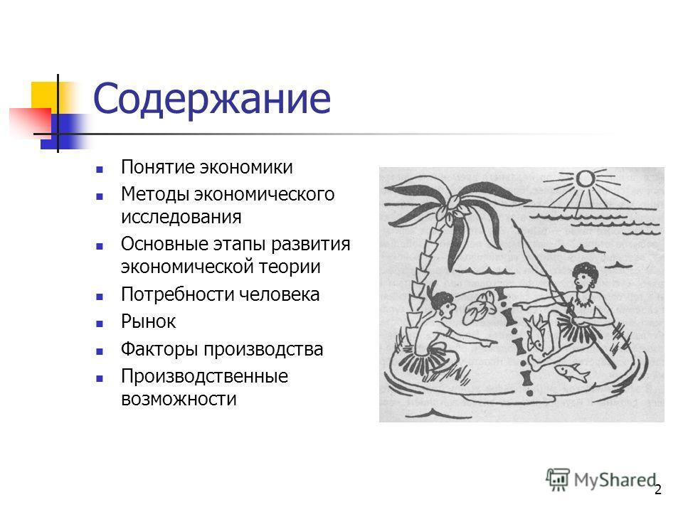 2 Содержание Понятие экономики Методы экономического исследования Основные этапы развития экономической теории Потребности человека Рынок Факторы производства Производственные возможности