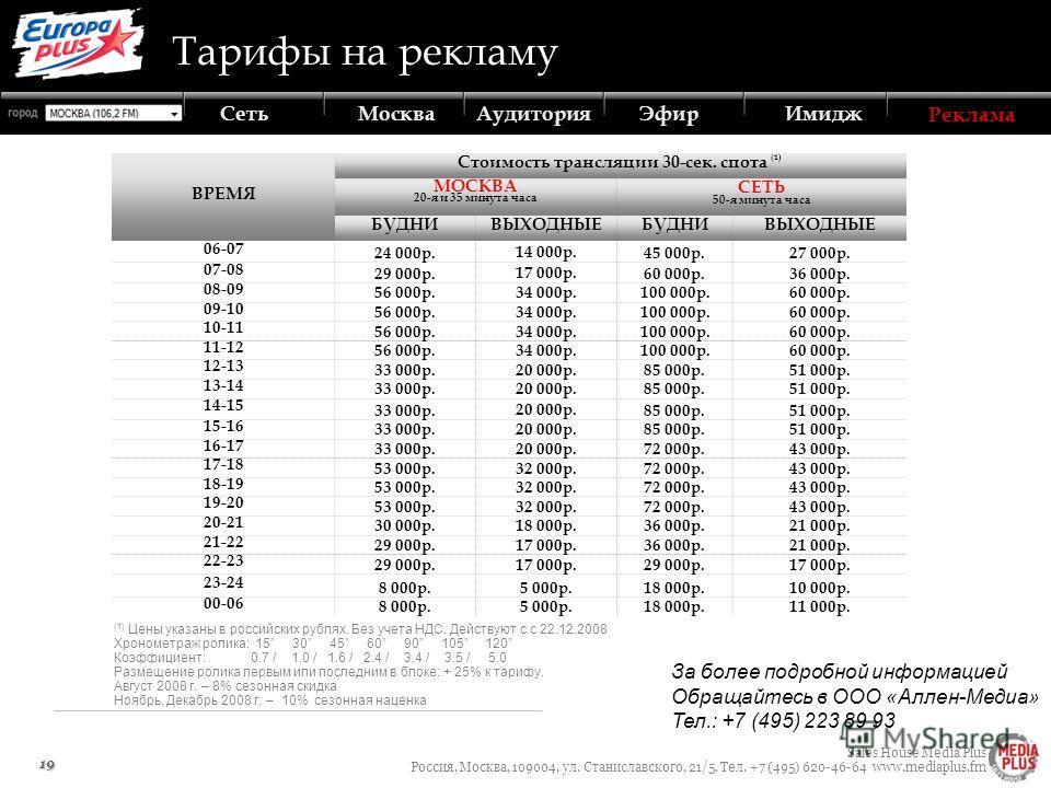 Sales House Media Plus Россия, Москва, 109004, ул. Станиславского, 21/5. Тел. +7 (495) 620-46-64 www.mediaplus.fm АудиторияЭфирИмиджРекламаСетьМосква 19 ВРЕМЯ Стоимость трансляции 30-сек. спота (1) МОСКВА 20-я и 35 минута часа СЕТЬ 50-я минута часа Б