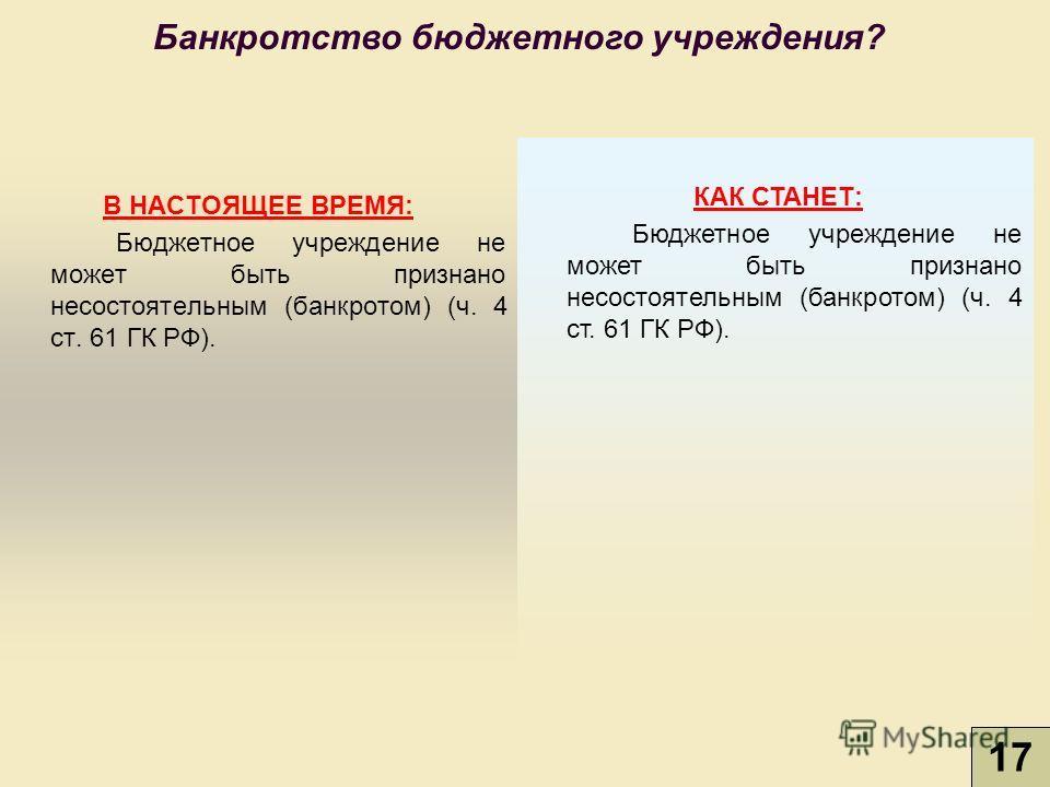 В НАСТОЯЩЕЕ ВРЕМЯ: Бюджетное учреждение не может быть признано несостоятельным (банкротом) (ч. 4 ст. 61 ГК РФ). КАК СТАНЕТ: Бюджетное учреждение не может быть признано несостоятельным (банкротом) (ч. 4 ст. 61 ГК РФ). Банкротство бюджетного учреждения