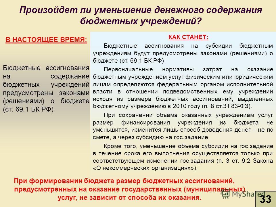 Произойдет ли уменьшение денежного содержания бюджетных учреждений? В НАСТОЯЩЕЕ ВРЕМЯ: Бюджетные ассигнования на содержание бюджетных учреждений предусмотрены законами (решениями) о бюджете (ст. 69.1 БК РФ) КАК СТАНЕТ: Бюджетные ассигнования на субси