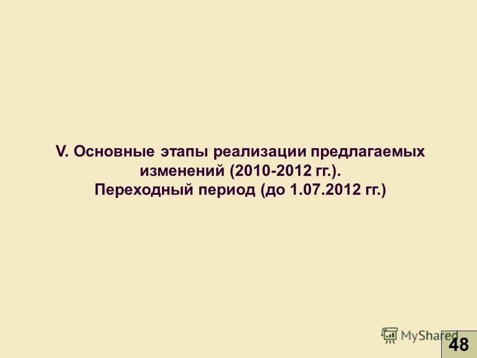 V. Основные этапы реализации предлагаемых изменений (2010-2012 гг.). Переходный период (до 1.07.2012 гг.) 48