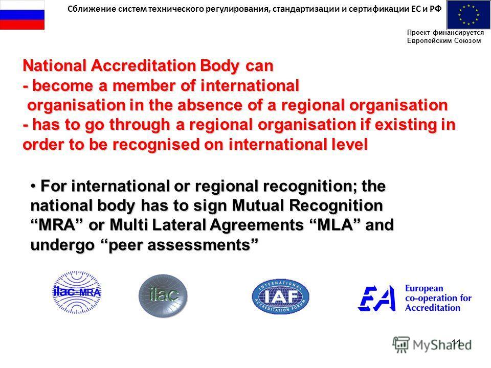 Сближение систем технического регулирования, стандартизации и сертификации ЕС и РФ Проект финансируется Европейским Союзом 11 For international or regional recognition; the national body has to sign Mutual Recognition MRA or Multi Lateral Agreements