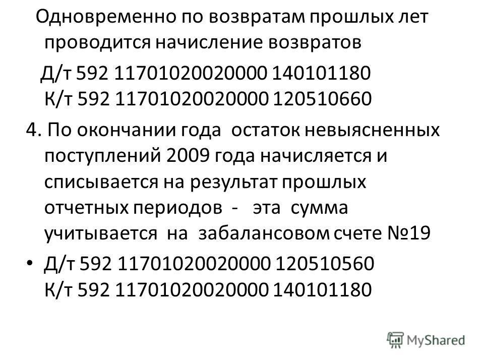 Одновременно по возвратам прошлых лет проводится начисление возвратов Д/т 592 11701020020000 140101180 К/т 592 11701020020000 120510660 4. По окончании года остаток невыясненных поступлений 2009 года начисляется и списывается на результат прошлых отч
