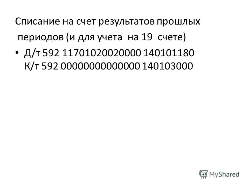 Списание на счет результатов прошлых периодов (и для учета на 19 счете) Д/т 592 11701020020000 140101180 К/т 592 00000000000000 140103000