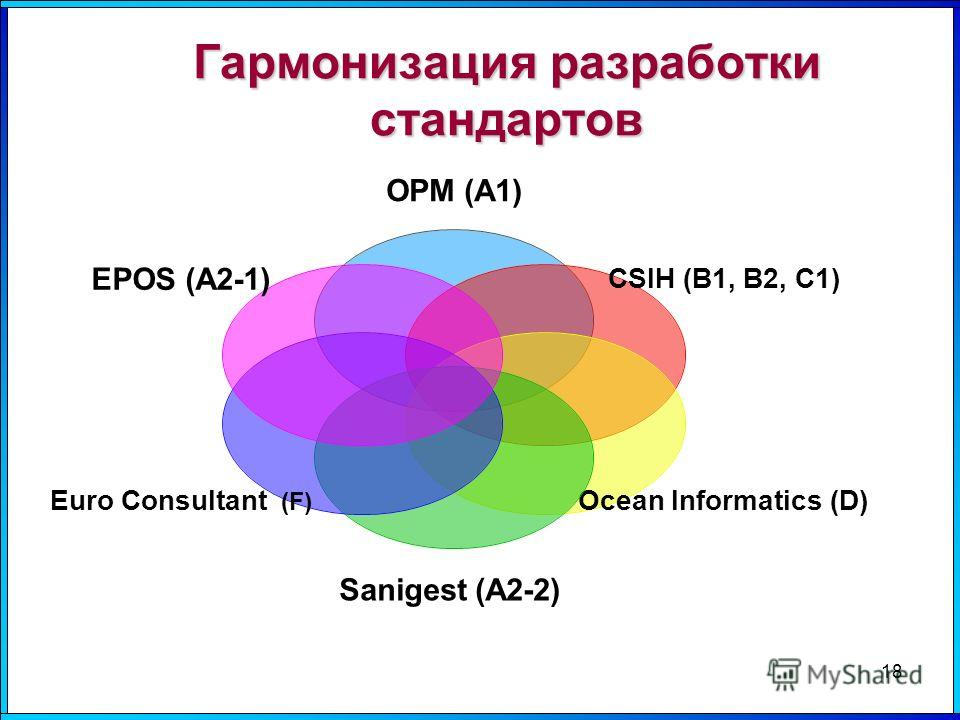 Гармонизация разработки стандартов 18 OPM (А1) CSIH (В1, В2, С1) Ocean Informatics (D) Sanigest (А2-2) Euro Consultant (F) EPOS (А2- 1)