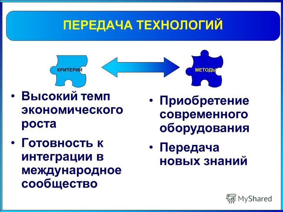 Высокий темп экономического роста Готовность к интеграции в международное сообщество Приобретение современного оборудования Передача новых знаний