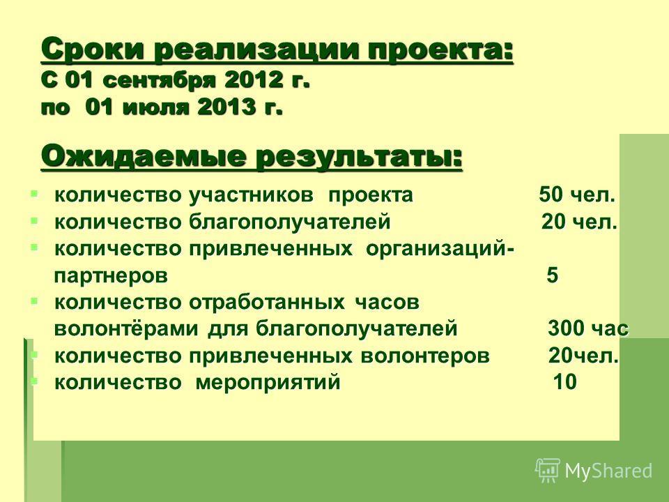 Сроки реализации проекта: С 01 сентября 2012 г. по 01 июля 2013 г. Ожидаемые результаты: количество участников проекта 50 чел. количество участников проекта 50 чел. количество благополучателей 20 чел. количество благополучателей 20 чел. количество пр