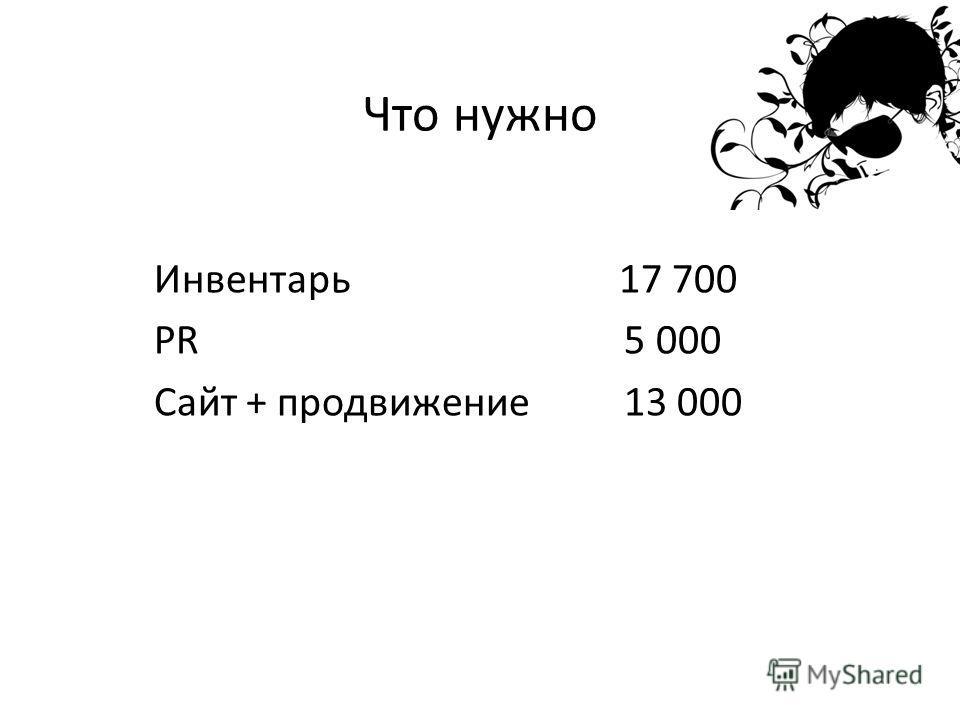 Что нужно Инвентарь 17 700 PR 5 000 Сайт + продвижение 13 000