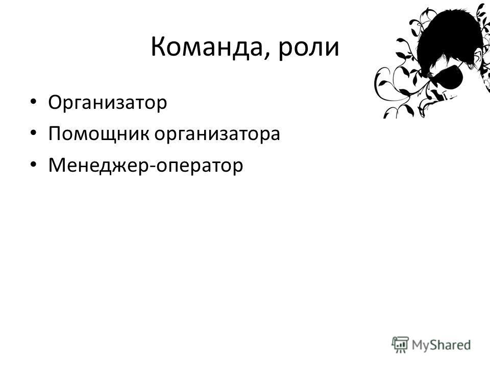 Команда, роли Организатор Помощник организатора Менеджер-оператор