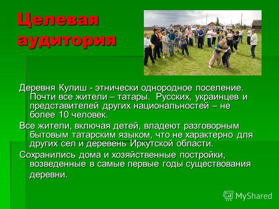 Целевая аудитория Деревня Кулиш - этнически однородное поселение. Почти все жители – татары. Русских, украинцев и представителей других национальностей – не более 10 человек. Все жители, включая детей, владеют разговорным бытовым татарским языком, чт